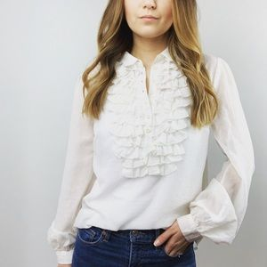 Free People Ruffle Button-Down